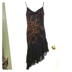 Sue Wong asymmetric silk beaded brown/gold dress